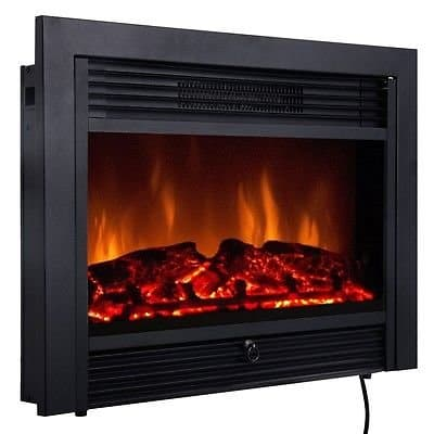 """28.5"""" Fireplace Electric Embedded Insert Heater Glass View Log Flame Remote Home"""