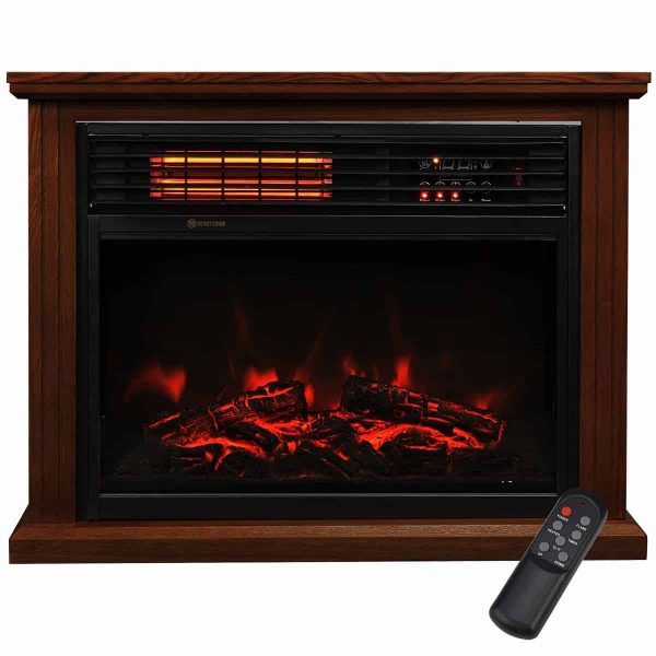 "28"" Electric Fireplace 1500W 3D Embedded Insert Heater with Cabinet"