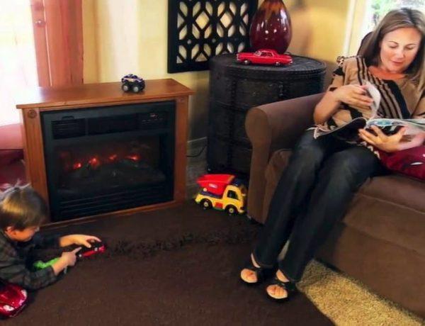 """28"""" Electric Fireplace 1500W 3D Flame Embedded Insert Heater Cabinet, Oak 2"""