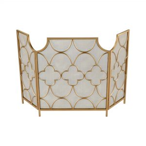 "29.75"" Gold Geometric Pattern Three Magi Fireplace Screen"
