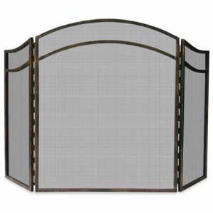 3 Fold Antique Rust Wrought Iron Arch Top Screen