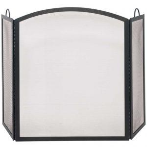 3 Fold Black Wrought Iron Arch Top Screen