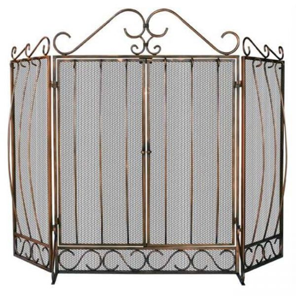 3 Fold Venetian Bronze Screen With Bowed Bar Scrollwork