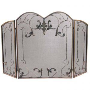 3 Fold Venetian Bronze Screen With Leaf Scrolls