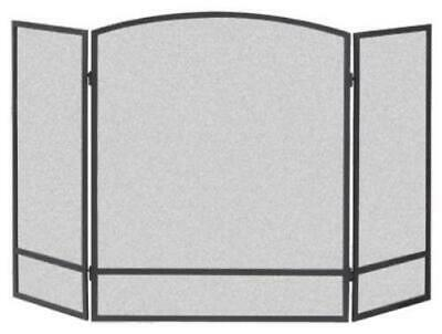 3 Panel Black Fireplace Screen Powder Coated Steel Construction