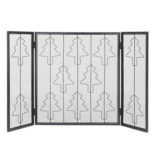 3 Panel Steel Fireplace Screen Folding Doors Heavy Duty Steel Christmas Home 1