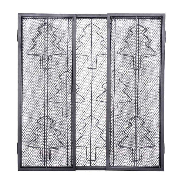 3 Panel Steel Fireplace Screen Folding Doors Heavy Duty Steel Christmas Home 2