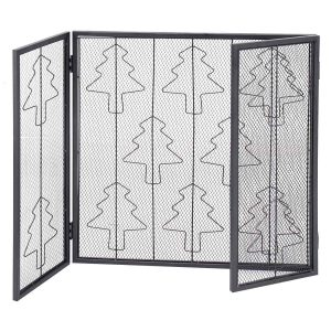 3 Panel Steel Fireplace Screen Folding Doors Heavy Duty Steel Christmas Home