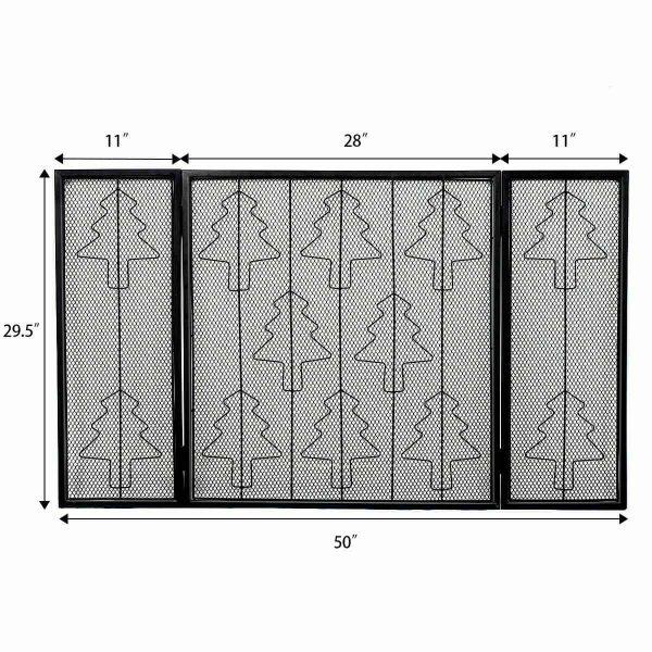 3 Panel Steel Fireplace Screen Folding Doors Heavy Duty Steel Christmas Home 5