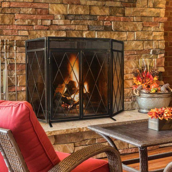 3 Panel Wrought Iron Fireplace Screen with Doors Large Flat Guard Metal Decorative Mesh Cover Firewood Burning Stove Tools Black 1