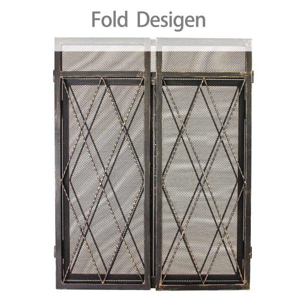 3 Panel Wrought Iron Fireplace Screen with Doors Large Flat Guard Metal Decorative Mesh Cover Firewood Burning Stove Tools Black 2