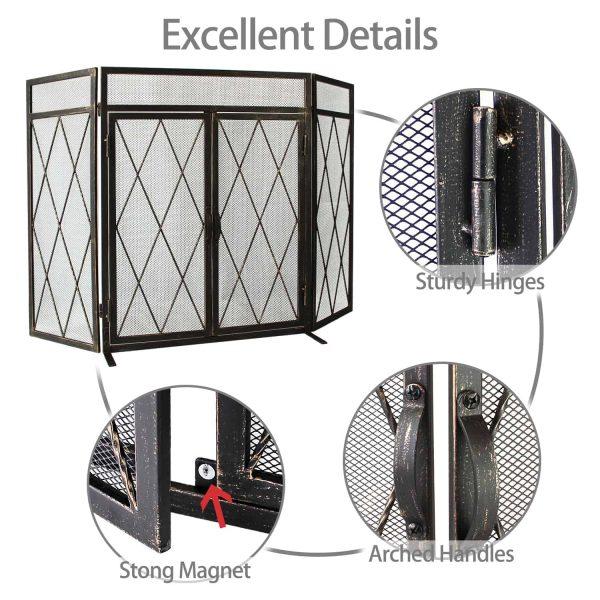 3 Panel Wrought Iron Fireplace Screen with Doors Large Flat Guard Metal Decorative Mesh Cover Firewood Burning Stove Tools Black 3