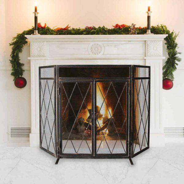 3 Panel Wrought Iron Fireplace Screen with Doors Large Flat Guard Metal Decorative Mesh Cover Firewood Burning Stove Tools Black 5