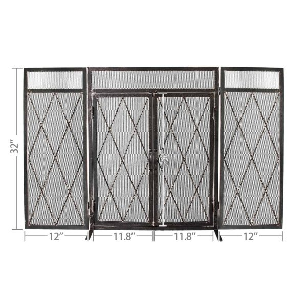 3 Panel Wrought Iron Fireplace Screen with Doors Large Flat Guard Metal Decorative Mesh Cover Firewood Burning Stove Tools Black 6