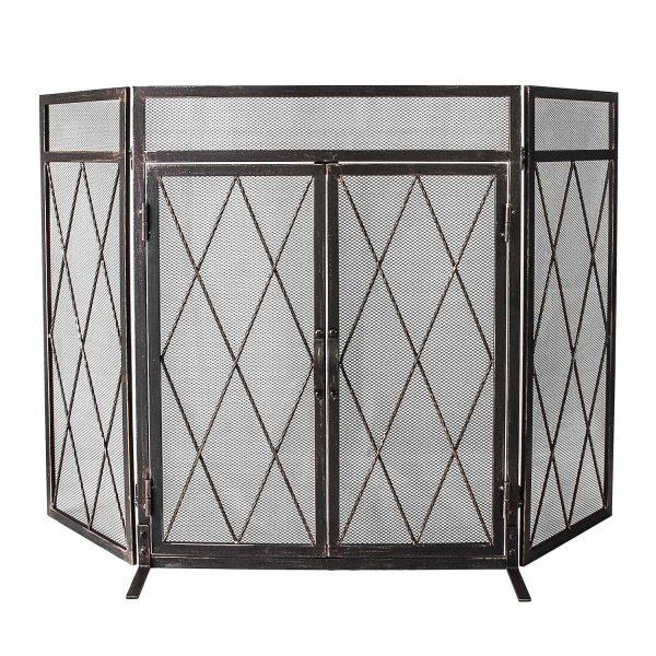 3 Panel Wrought Iron Fireplace Screen with Doors Large Flat Guard Metal Decorative Mesh Cover Firewood Burning Stove Tools Black