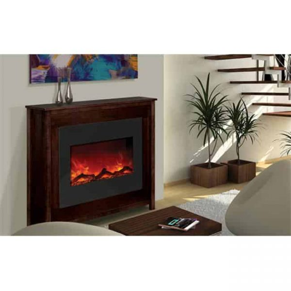 30 In. Zero Clearance Fireplace With 32 x 26 In. Black Glass Surround