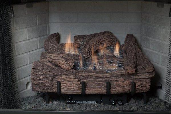 30 Inch Palmetto Oak 7-Piece Log Set & LP Millivolt Control Burner