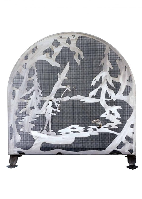 30 Inch W X 30 Inch H Fly Fishing Creek Arched Fireplace Screen