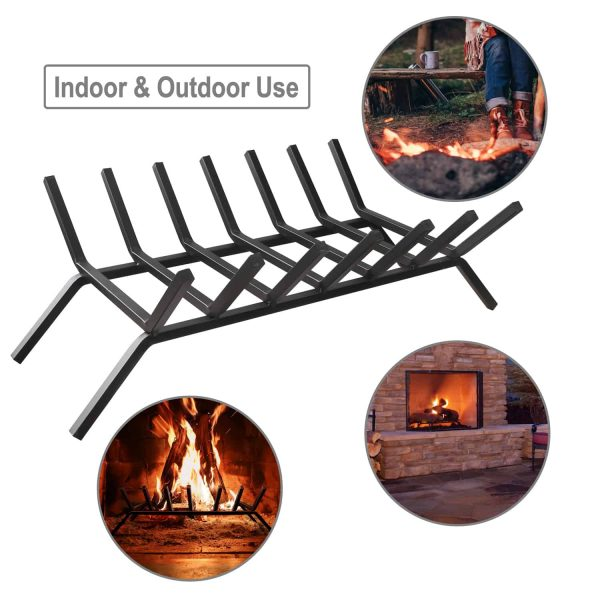 30 inch Fireplace Grate 7 Bar Steel for Log Firewood Burning Indoor Outdoor 3
