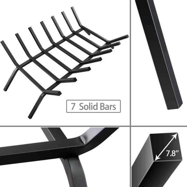 30 inch Fireplace Grate 7 Bar Steel for Log Firewood Burning Indoor Outdoor 4