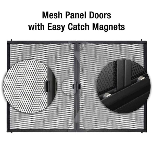 """30"""" Premium Alpine Fireplace Expandable Black Iron Steel Guard Cover Door with Glass and Mesh - Small 4"""
