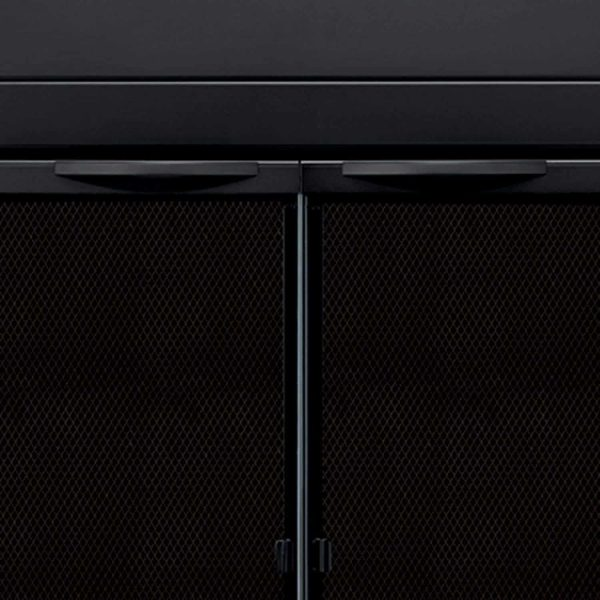 """30"""" Premium Alpine Fireplace Expandable Black Iron Steel Guard Cover Door with Glass and Mesh - Small 5"""