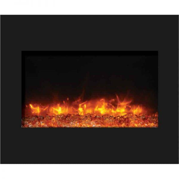 "30"" Zero Clearance Fireplace with 32"" x 26"" Black Glass Surround 2"