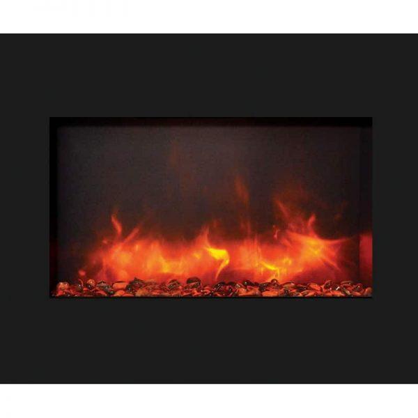 "30"" Zero Clearance Fireplace with 32"" x 26"" Black Glass Surround 3"