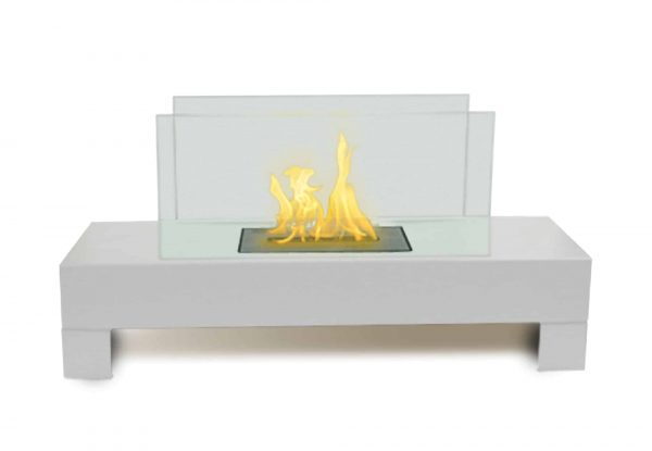 "31"" White Stainless Steel Table Anywhere Fireplace"