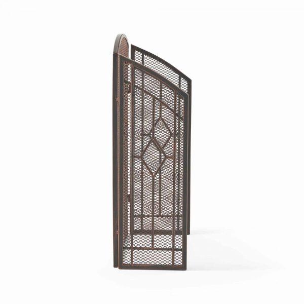 "31.25"" Black and Copper Contemporary Three Panel Iron Firescreen 1"
