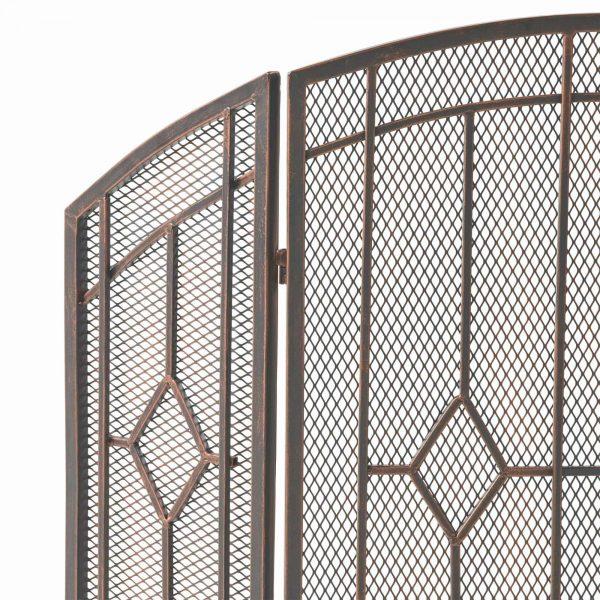 "31.25"" Black and Copper Contemporary Three Panel Iron Firescreen 2"