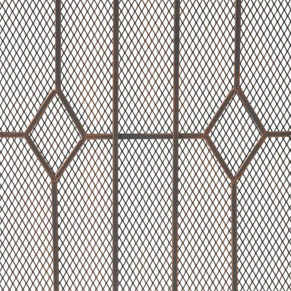 "31.25"" Black and Copper Contemporary Three Panel Iron Firescreen 3"