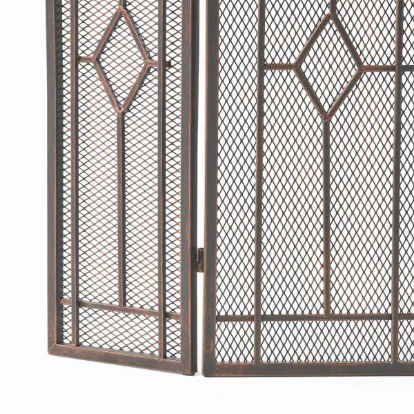 "31.25"" Black and Copper Contemporary Three Panel Iron Firescreen 4"