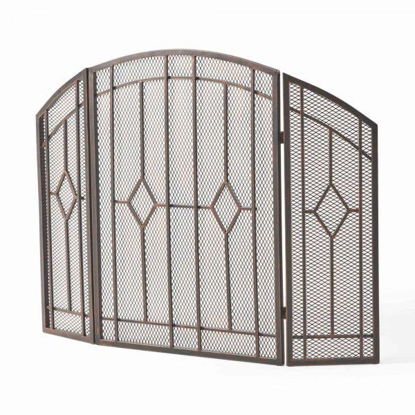 "31.25"" Black and Copper Contemporary Three Panel Iron Firescreen 5"