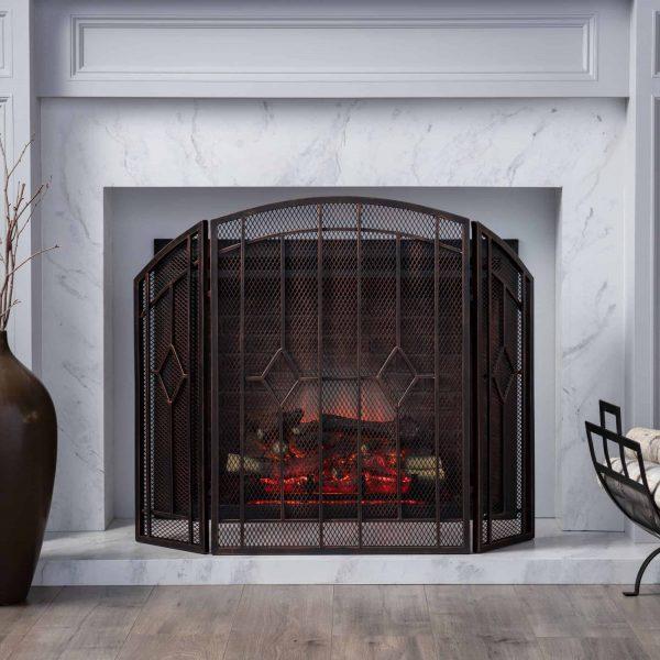 "31.25"" Black and Copper Contemporary Three Panel Iron Firescreen 6"