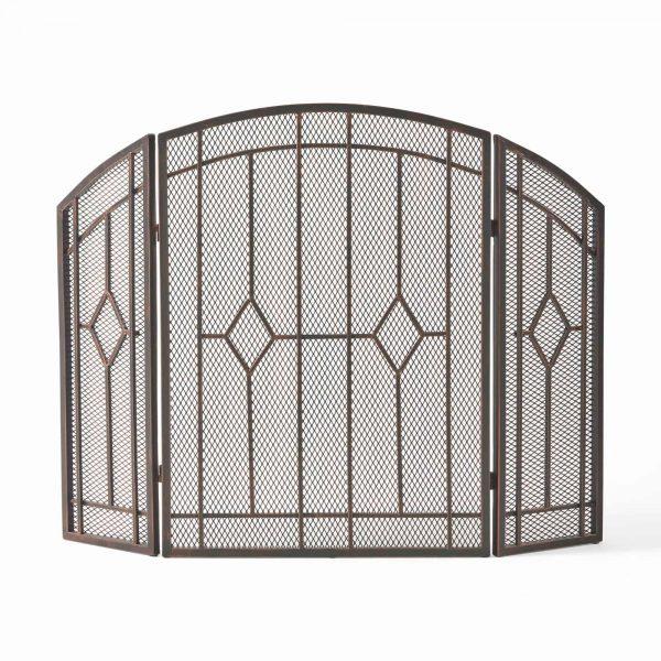 "31.25"" Black and Copper Contemporary Three Panel Iron Firescreen"
