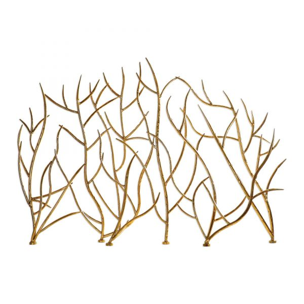 """31.89"""" Gold Branches Decorative Fireplace Screen"""