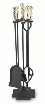 32 Inch Tall 5 Piece Polished With Square Base Ball Handles - Black