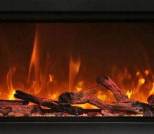 "34"" Extra Tall Clean Face Symmetry Electric Fireplace w/Driftwood Logs"