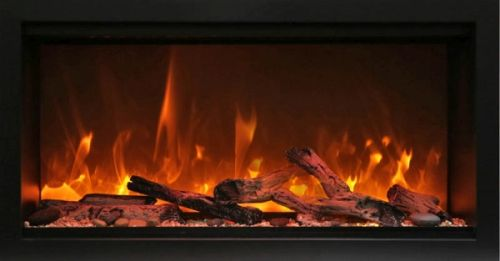 """34"""" Extra Tall Clean Face Symmetry Electric Fireplace w/Rustic Logs"""