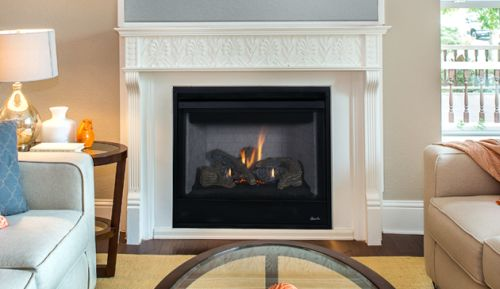 """35"""" Louverless Top Vent Fireplace w/Logs and Electronic Ignition - NG"""