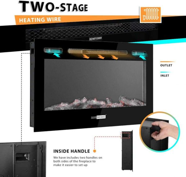 36 Inch 120V 750W / 1500W 2 Heat Modes Wall Mounted and in Wall Recessed Electric Fireplace Heater 1