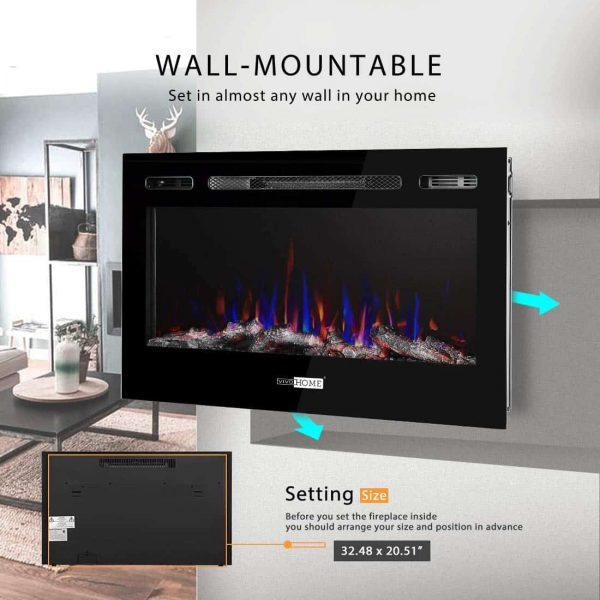 36 Inch 120V 750W / 1500W 2 Heat Modes Wall Mounted and in Wall Recessed Electric Fireplace Heater 2