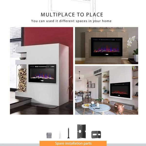 36 Inch 120V 750W / 1500W 2 Heat Modes Wall Mounted and in Wall Recessed Electric Fireplace Heater 3