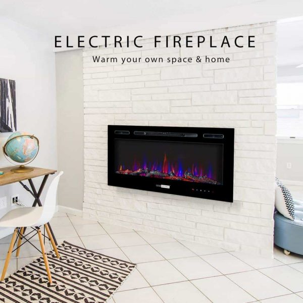 36 Inch 120V 750W / 1500W 2 Heat Modes Wall Mounted and in Wall Recessed Electric Fireplace Heater 5
