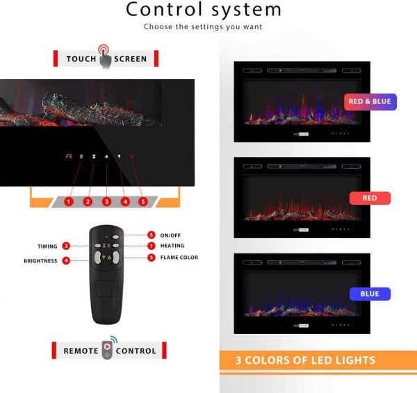 36 Inch 120V 750W / 1500W 2 Heat Modes Wall Mounted and in Wall Recessed Electric Fireplace Heater 6