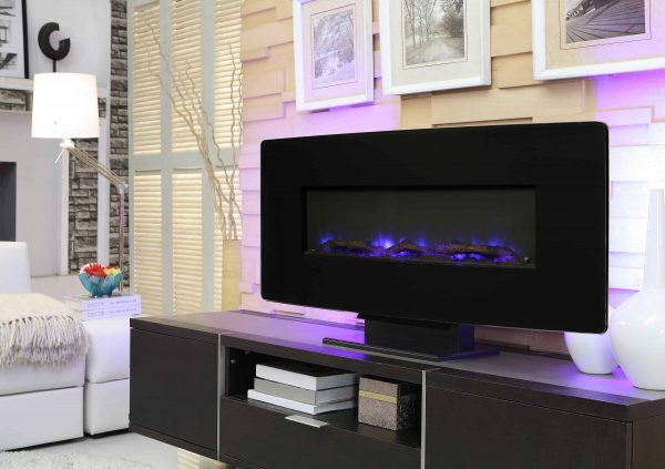 36-in Curved Front Wall Mount Fireplace in Black Glass 1