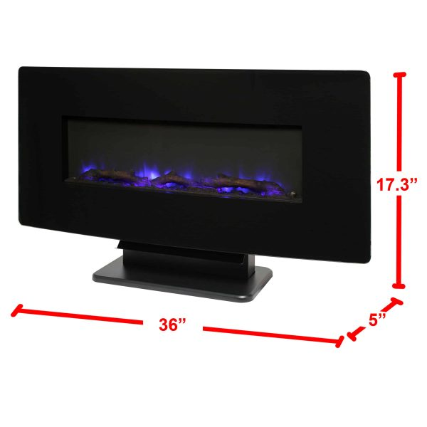 36-in Curved Front Wall Mount Fireplace in Black Glass 2