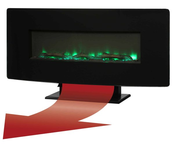 36-in Curved Front Wall Mount Fireplace in Black Glass 3