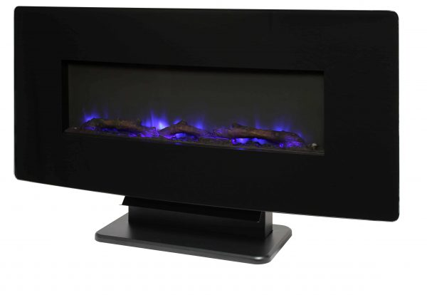 36-in Curved Front Wall Mount Fireplace in Black Glass